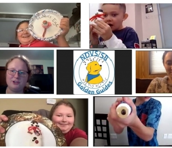 19 pictures of students working on online virtual projects many are with food creations.  A few have snowmen and an eye creation made from candy.  Other pictures are students Lego creations of an ice cream project with Matthew Shifrin who was a special guest for the students.